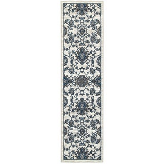 L and R Home Adana White and Blue Olefin Indoor Runner Rug (1'10x7'1)