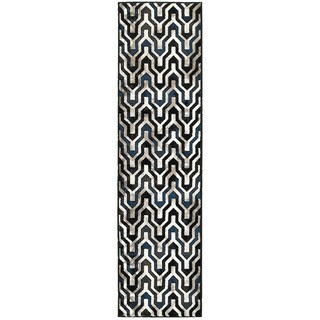L and R Home Adana Black and White Indoor Runner Rug - 2' x 7'