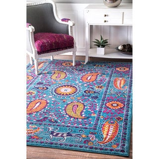 nuLOOM Traditional Vibrant Paisley Blue Rug (9' x 12')