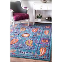 nuLOOM Traditional Vibrant Paisley Blue Rug - 9' x 12'