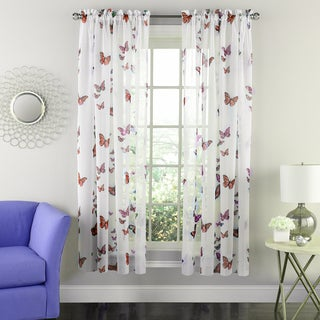 Butterflies Semi-Sheer 63 Inch Tailored Window Curtain Panel Pair