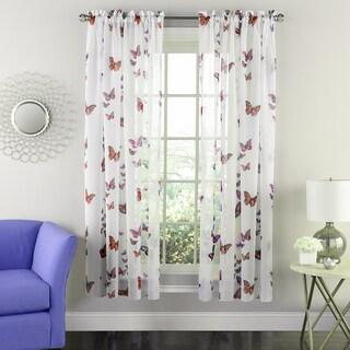 Butterflies Semi-sheer 63-inch Tailored Window Curtain Panel