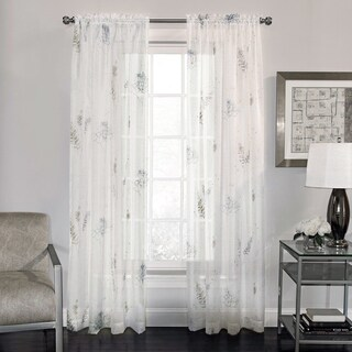 Semi-Sheer Fern Print Voile Fabric Window Curtain Panel