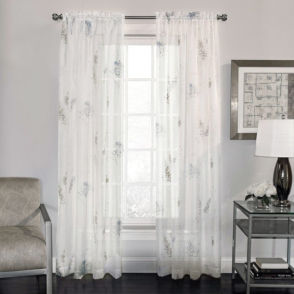Shop Semi Sheer Fern Print Voile Fabric Window Curtain