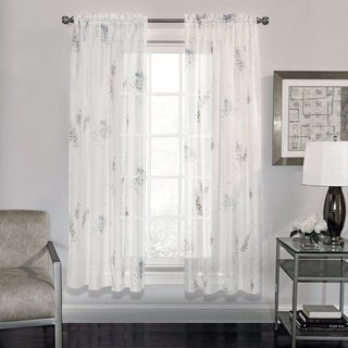 Semi-Sheer Fern Print Voile Fabric 63 Inch Window Curtain Panel