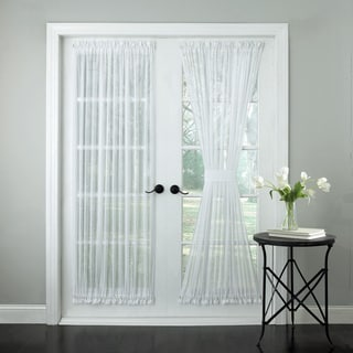 Semi-Sheer Micro-Stripe 72 Inch Tailored Door Curtain Panel With Tieback - 50 x 72