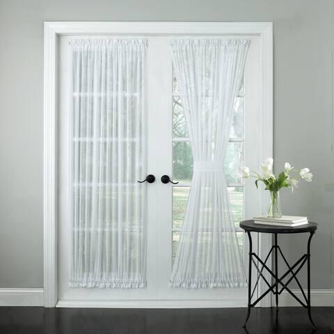 Semi-Sheer Micro-Stripe 72 Inch Tailored Door Curtain Panel With Tieback - 72x60