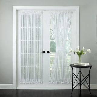 Semi-Sheer Micro-Stripe 72 Inch Tailored Door Curtain Panel With Tieback