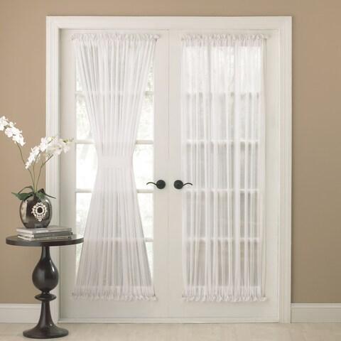 Semi-Sheer 72-inch Tailored Door Curtain Panel With Tieback - 50 x 72