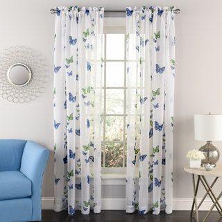 Butterflies Semi-sheer 84-inch Tailored Window Curtain Panel