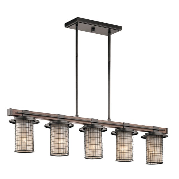 Kichler Lighting Ahrendale Collection 5 Light Anvil Iron Linear Chandelier