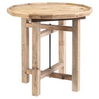 Farhouse Rustic Round Bo End Table by Cue Home Collection