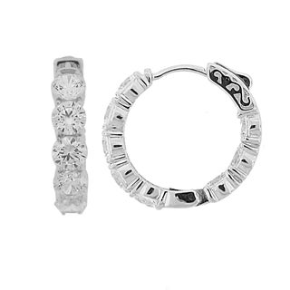 Meredith Leigh Sterling Silver Cubic Zirconia Inside-out Hoops