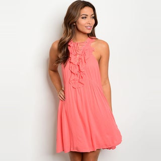 Shop The Trends Women's Sleeveless Lace Up Dress With Ruffle Front Design