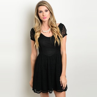 Shop The Trends Women's Short Sleeve A-Line Lace Dress with Full Lining and Scoop Neckline