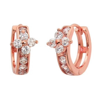 Eternally Haute 14k Rose Goldplated Pave Flower Huggie Earrings