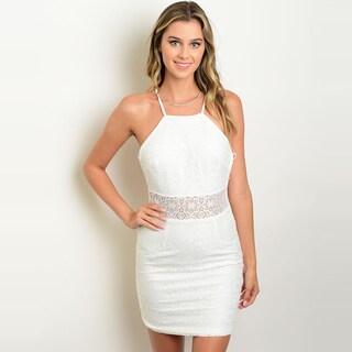 Shop The Trends Women's Spaghetti Strap Bodycon Mini Dress with Allover Lace Design