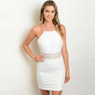 Shop The Trends Women's Spaghetti Strap Bodycon Mini Dress with Allover Lace Design
