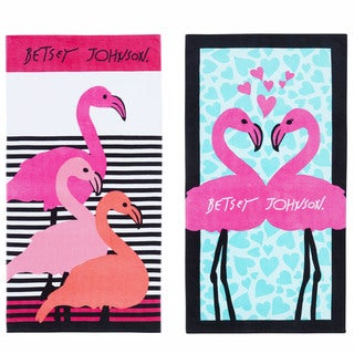Betsey Johnson Flamingos Beach Towel Set