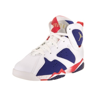 Nike Jordan Kids' Jordan 7 Retro Bp White/Blue Leather Basketball Shoes
