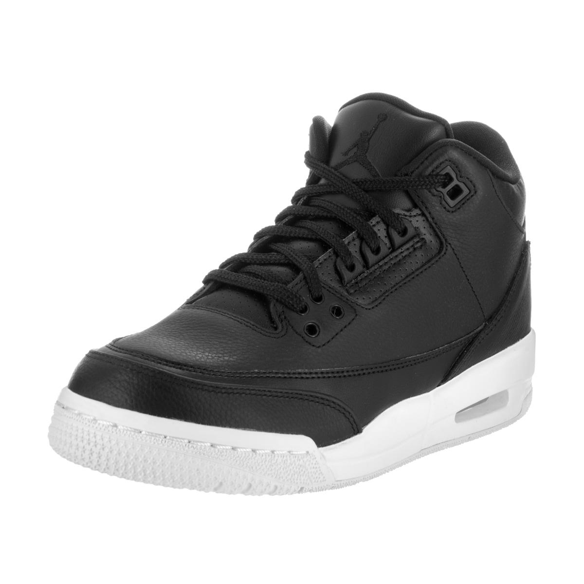Nike Jordan Kids Air Jordan 3 Retro Black Leather Basketb...