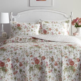 shop laura ashley breezy floral quilt set free shipping. Black Bedroom Furniture Sets. Home Design Ideas