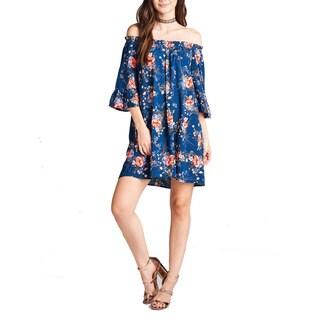 JED Women's Rayon Challis Off-shoulder Floral Print Short Tunic Dress