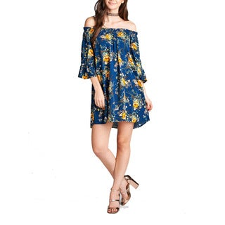 JED Women's Rayon Challis Off-shoulder Floral Print Short Tunic Dress