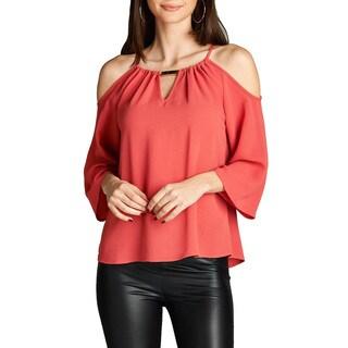 JED Women's Quarter-sleeve Keyhole Neckline Cold Shoulder Top