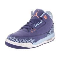 Nike Jordan Kids Air Jordan 3 Retro GG Blue Leather Basketball Shoes