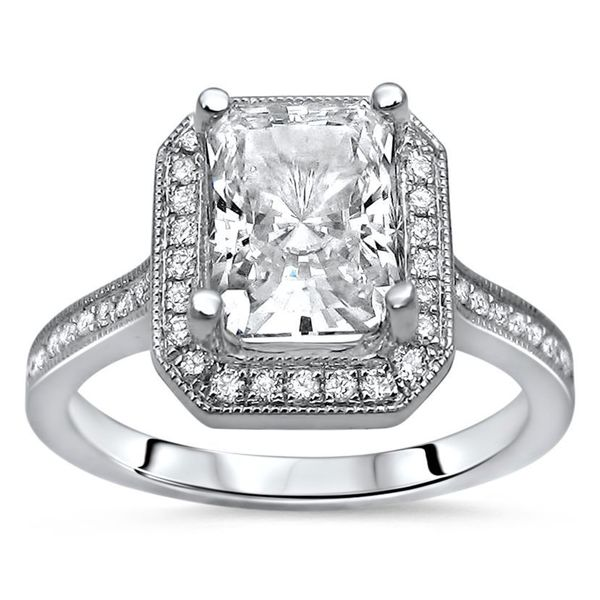 Radiant Reflections Diamond Ring 1 Ct Tw 14k White Gold: Shop Noori 14k White Gold Radiant Moissanite And 1/5ct TDW