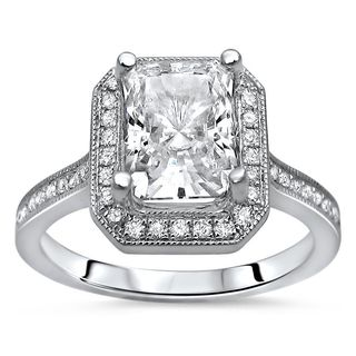 Noori 14k White Gold Radiant Moissanite and 1/5ct TDW Diamond Engagement Ring (G-H, SI1-SI2)