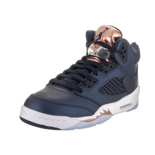 Nike Jordan Kids Air Jordan 5 Retro Bg Blue Leather Basketball Shoes