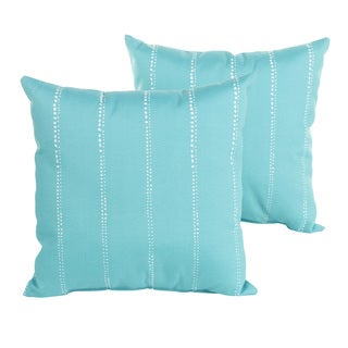 Perry Aqua Dotted Stripes Indoor/ Outdoor 22 inch Square PIllow Set