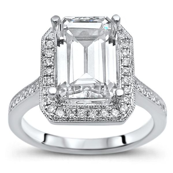 14k White Gold Moissanite and 1/5ct TDW Diamond Engagement Ring (G-H, SI1-SI2). Opens flyout.