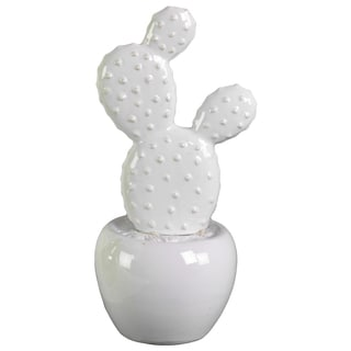 Urban Trends Collection White Ceramic Cactus Figurine with Flowers on Pot