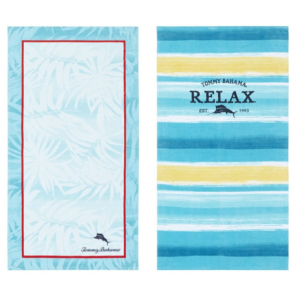 Tommy Bahama Captain Stripe/ Spring Marlin Beach Towel Set