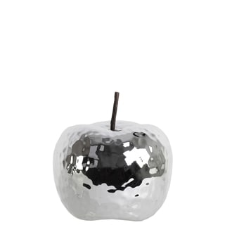 Polished Chrome Finish Silver Ceramic Small Dimpled Apple Figurine