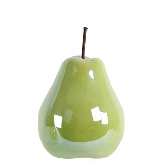 Pearlescent Finish Green Ceramic Small Pear Figurine