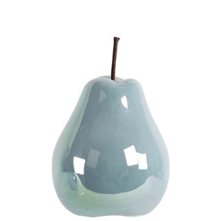 Urban Trends Collection Pearlescent Blue Ceramic Small Pear Figurine
