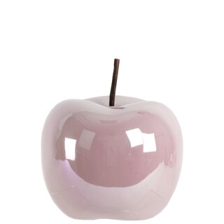 Pearlescent Finish Pink Ceramic Large Apple Figurine