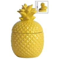 UTC44202: Ceramic 20 oz. Pineapple Canister SM Gloss Finish Yellow