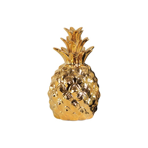 Urban Trends Collection Gloss Finish Gold Ceramic Pineapple Figurine