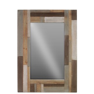 Natural Wood Finish Beige Wood Square Parquet Design Frame Mirror
