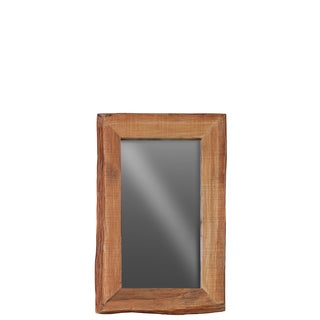 Urban Trends Collection Live Edge Distressed Finish Brown Wood Rectangular Wall Mirror