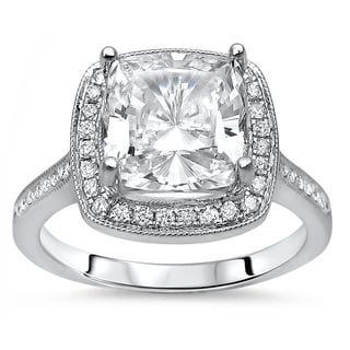 Noori 14k White Gold Moissanite and 1/5ct TDW Diamond Engagement Ring (G-H, SI1-SI2)