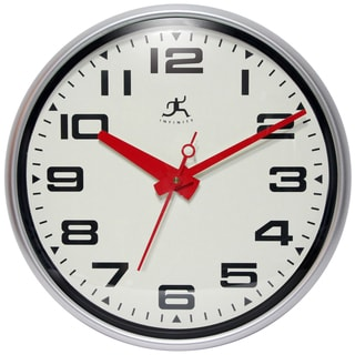 Infinity Instruments Lexington Avenue Silvertone Aluminum, Resin, Glass, and Plastic 15-inch Round Wall Clock