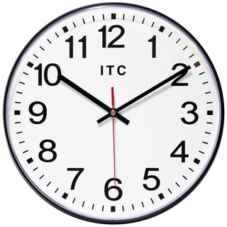 Infinity Instruments Carnegie Black/White Aluminum 12-inch Round Wall Clock