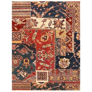 Herat Oriental Afghan Hand-knotted Vegetable Dye Patch Design Wool Rug (4' x 5'2)