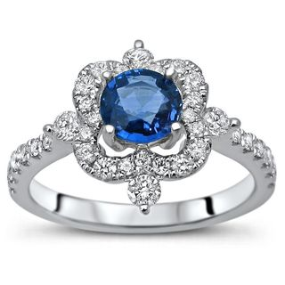Noori 18k White Gold Blue Sapphire and 1/2ct TDW Diamond Engagement Ring (G-H, SI1-SI2)